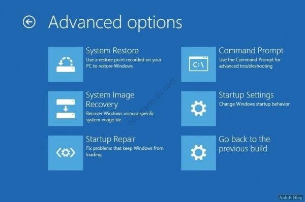 Các vào và sử dụng Advanced Boot Options để sửa lỗi Windows