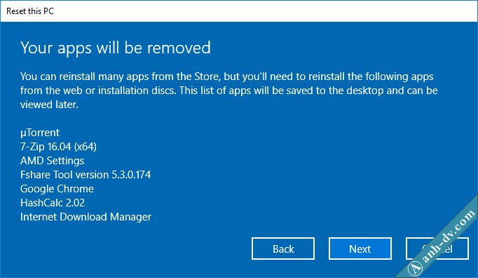 Hướng dẫn Reset Windows 10 với lựa chọn Keep My files