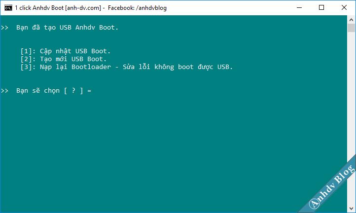 Chạy lại công cụ 1 click Anhdv boot