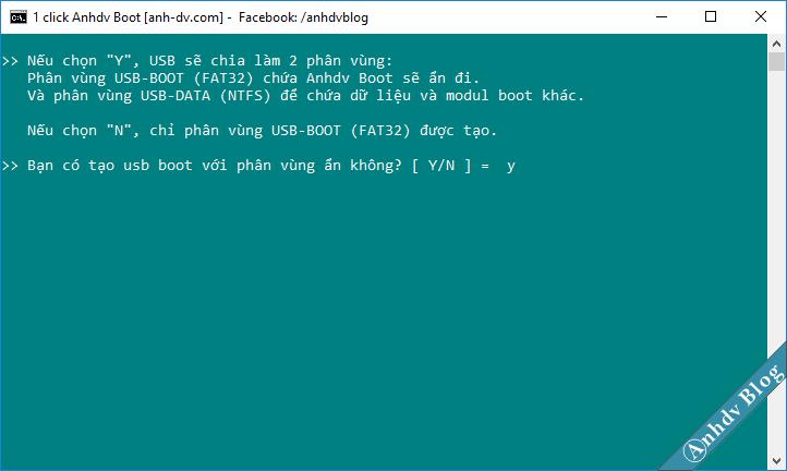 Chọn tạo usb boot uefi legacy với phân vùng ẩn