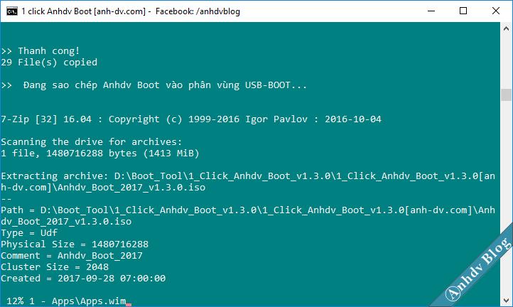 Tạo usb boot uefi legacy với 1 click Anhdv Boot