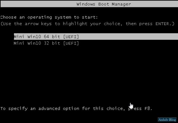 Khởi động vào Mini Windows 10 UEFI trong Anhdv Boot