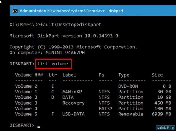 lệnh diskpart trong mini windows 10 UEFI