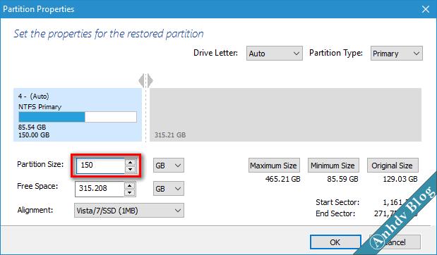 Thay đổi kích thước ổ C khi chuyển hệ điều hành