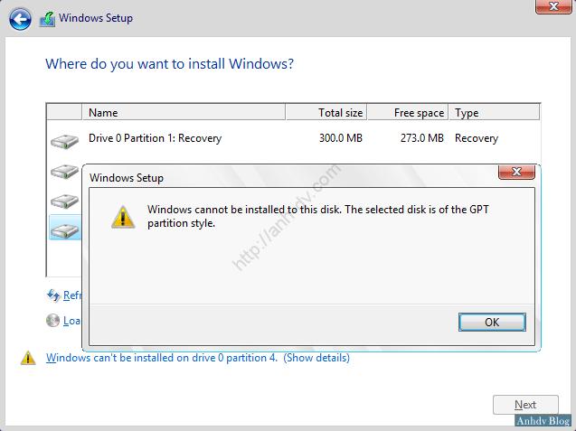 Lỗi cài đặt windows do chưa chuyển ổ cứng sang GPT