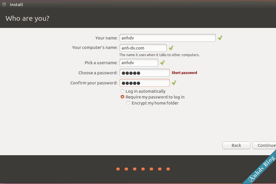 Nhập tên tài khoản khi cài Ubuntu