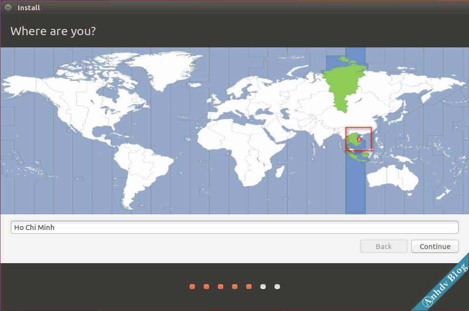 Chọn vùng Việt nam khi cài Ubuntu