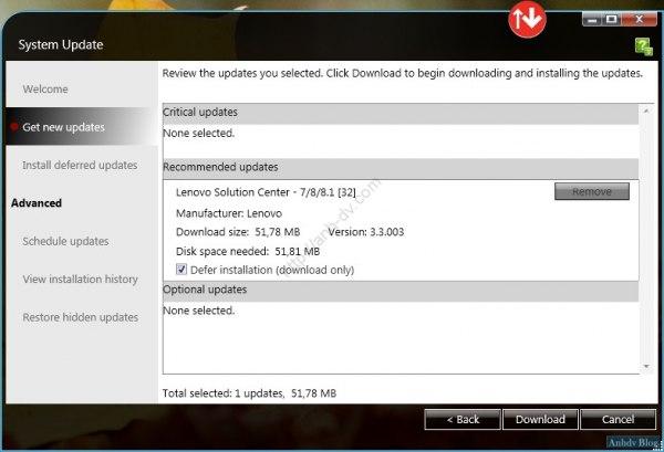 Cài đặt driver tự động Lenovo download