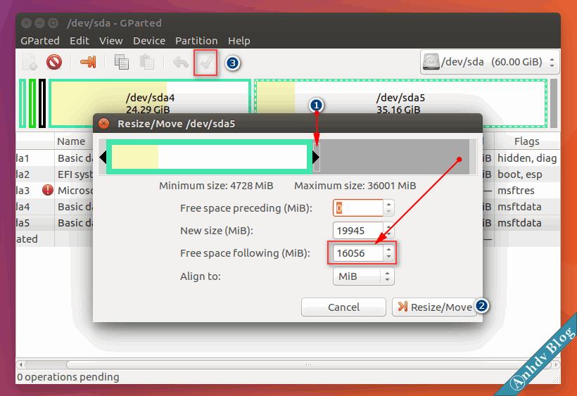 Tạo phân vùng cài Ubuntu với Gparted