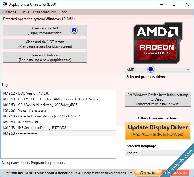 Sửa lỗi màn hình xanh do xung đột driver card màn hình vga với DDU