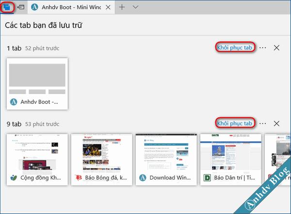 Quản lý các tab trong Edge của Windows 10 Creator