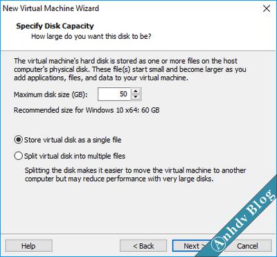 Sử dụng VMware thiết lập ổ cứng