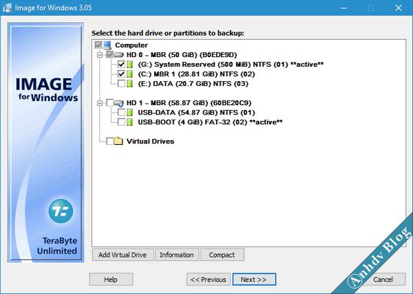 Tạo file ghost với Terabyte