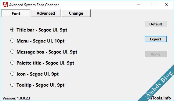 Thay đổi font chữ mặc định Windows 1