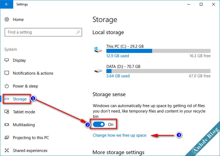 Tự động dọn dẹp ổ cứng Windows 10 1709