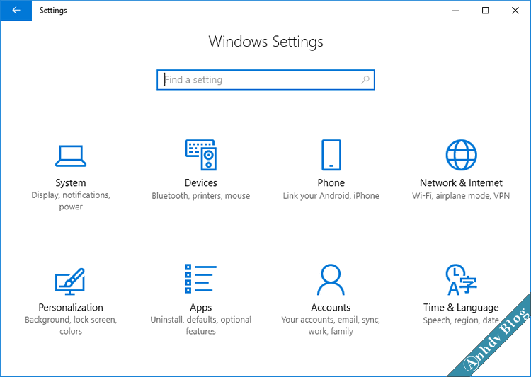 Windows Settings trên Windows 10 1709