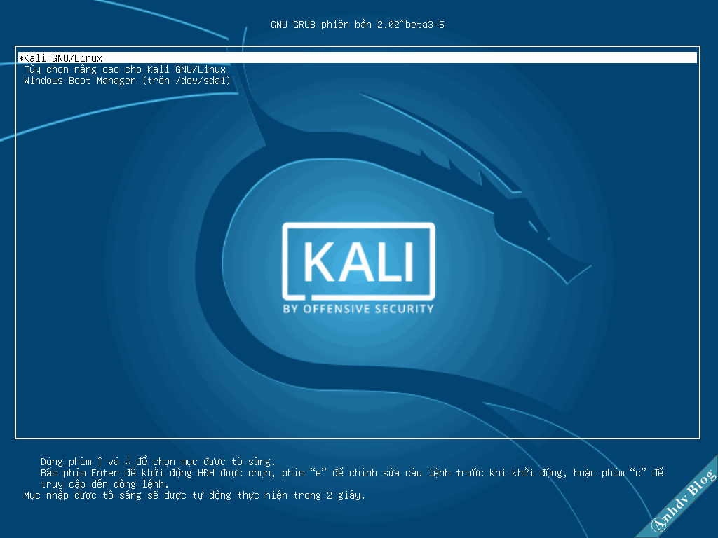 Dual Boot Kali Linux và Windows 10