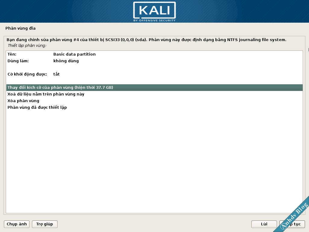 Chuẩn bị phân vùng để cài Kali Linux