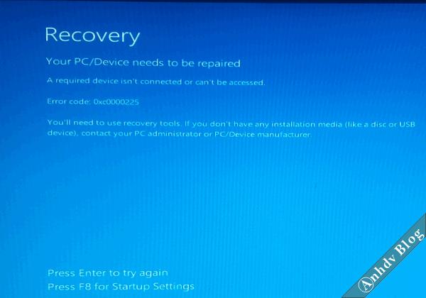 Lỗi màn hình xanh Recovery