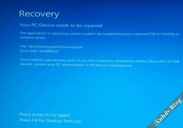 Lỗi màn hình xanh Recovery, Winload.efi