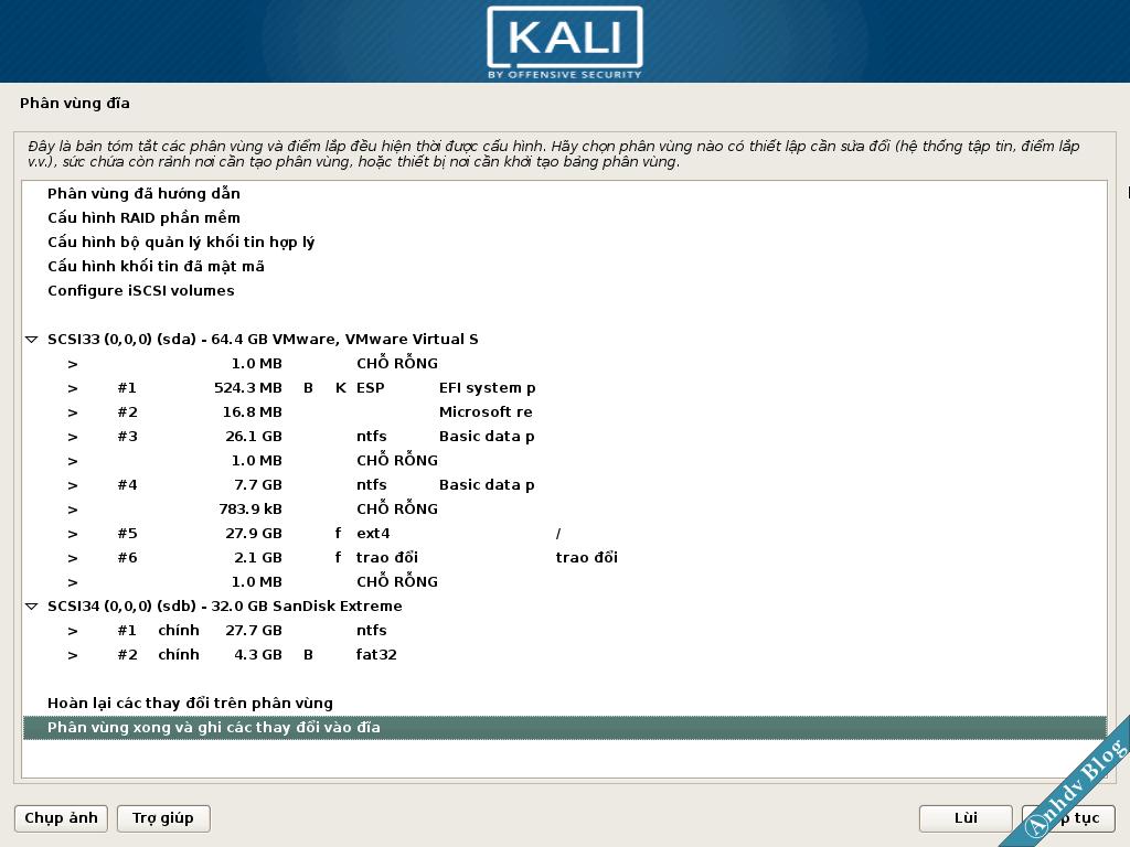 Phân vùng cài Kali Linux xong