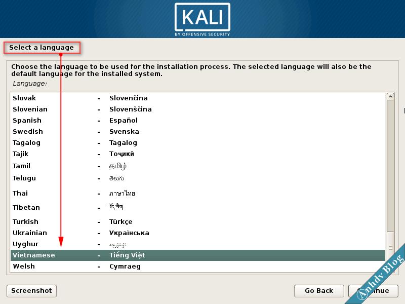 Chọn Ngôn ngữ khi cài song song Kali Linux
