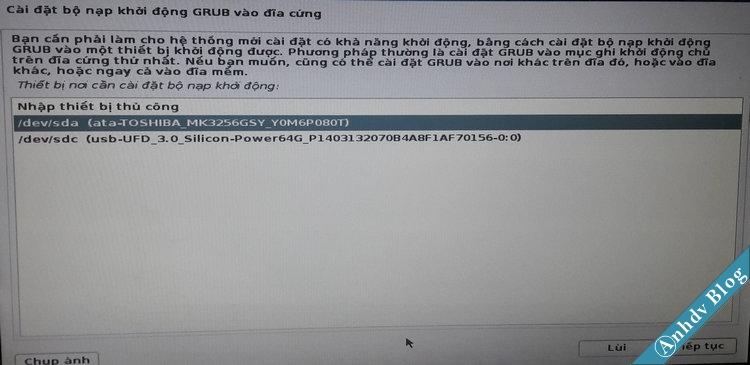 Chọn ổ cứng để cài Grub2 cho Kali Linux