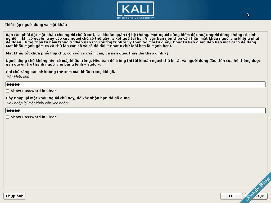 Mật khẩu cài đặt Kali Linux