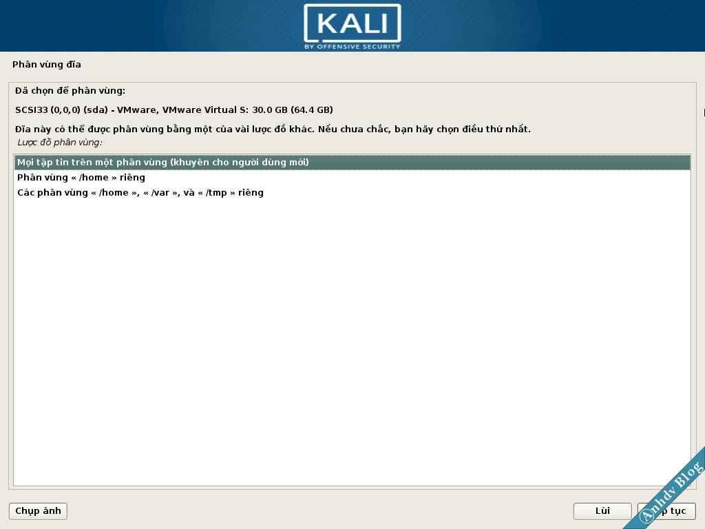 Phân vùng cài Kali Linux