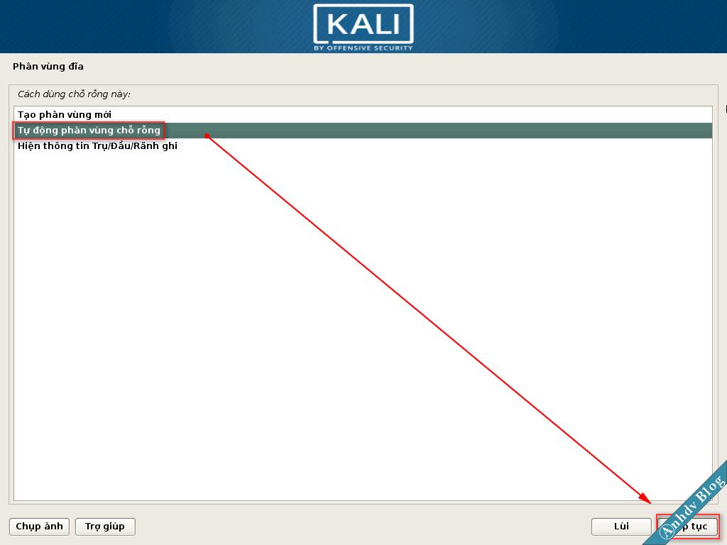 Tự động phân vùng cài Kali Linux