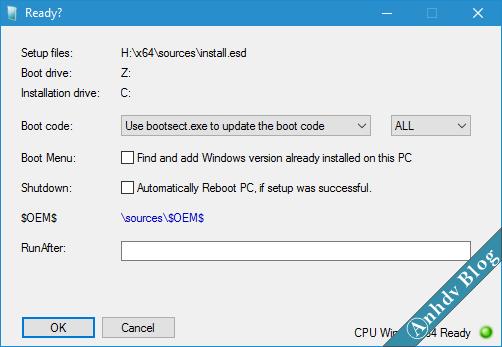 Bước 1: Chuẩn bị phân vùng để cài đặt Windows UEFI-Legacy với WinNTSetup OK