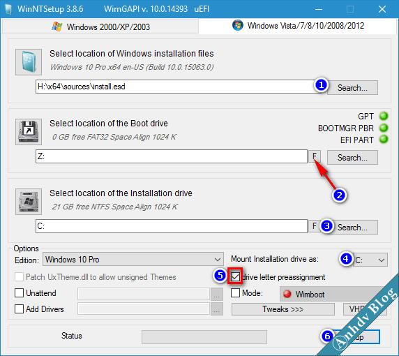Cài đặt Windows UEFI-Legacy chuẩn với WinNTSetup