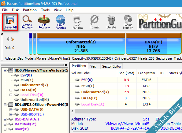 Bước 1: Chuẩn bị phân vùng để cài đặt Windows UEFI-Legacy save