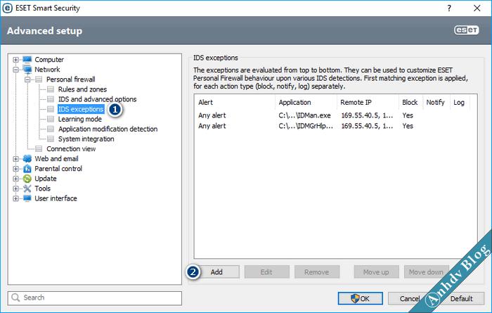 Thiết lập tường lửa, chặn IP, Chặn Website ESET 1