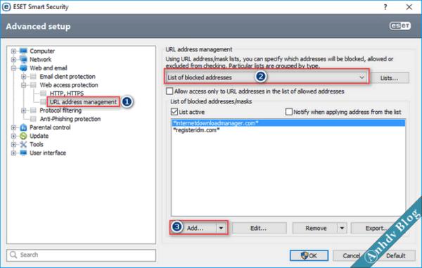 Thiết lập tường lửa chặn IP chặn Website bằng ESET