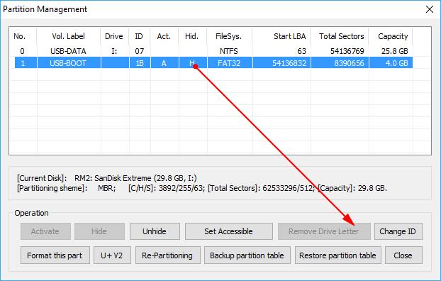 Sửa lỗi hiện cả 2 phân vùng usb boot khi dùng 1 click anhdv