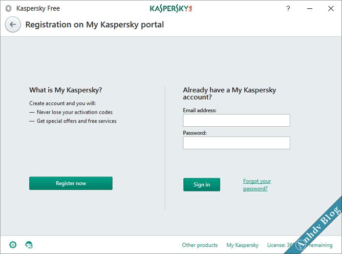 Đăng ký Kaspersky Free