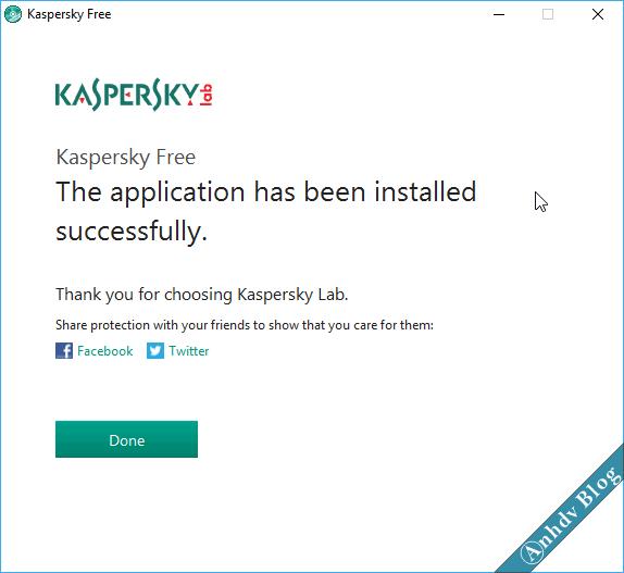 Phần mềm diệt virus miễn phí Kaspersky Free - Done
