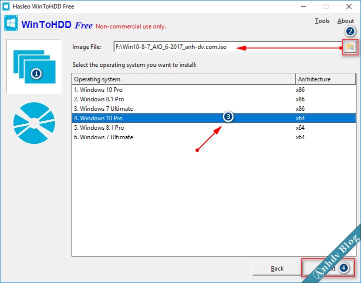Chọn phiên bản cài Win khi dùng WinToHDD