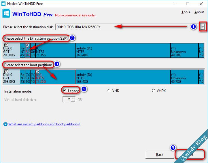 Chọn phân vùng cài win từ ổ cứng với WinToHDD