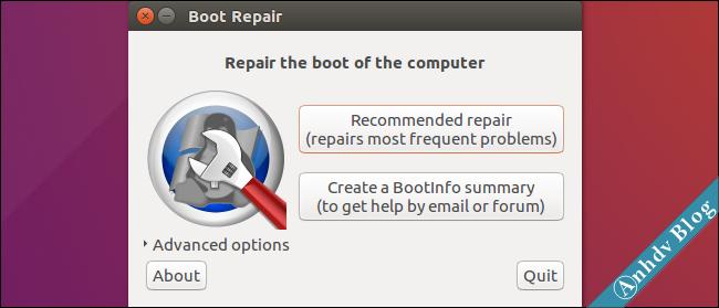 Boot-Repair sửa lỗi Ubuntu