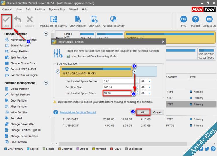 Tạo phân vùng cài Windows 1