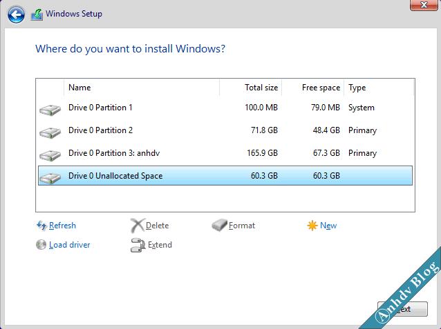 Chọn phân vùng để cài Windows