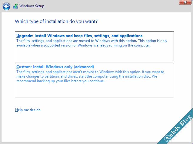Lựa chọn cài Windows