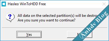 Cảnh báo mất dữ liệu khi dùng WinToHDD