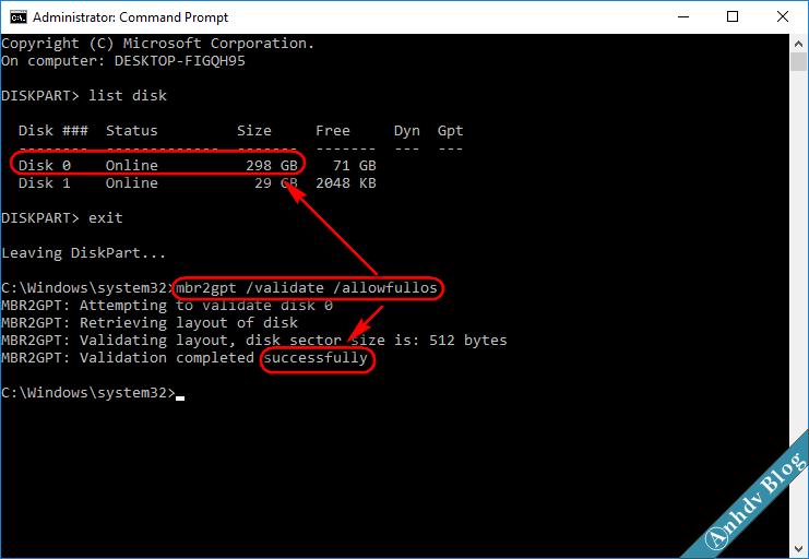 Chuyển ổ cứng MBR sang GPT - kiểm tra