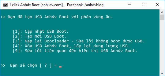 Hiện phân vùng ẩn, cập nhật usb boot, sửa lỗi hiển thị phân vùng usb