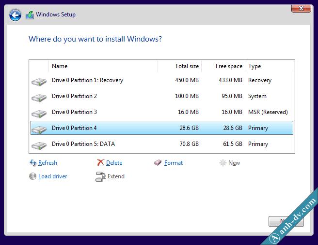 Tự động tạo phân vùng cài đặt Win với Windows Setup