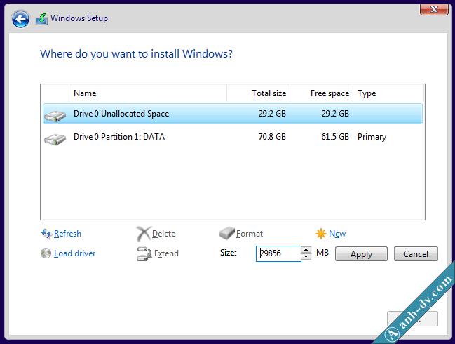 Phân chia phân vùng trước khi cài đặt Windows hay Ghost Win
