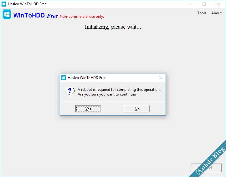 Khởi động lại máy để cài win từ ổ cứng với WinToHDD